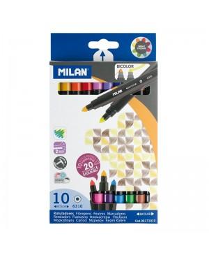 Dvigaliai flomasteriai Milan Bicolor 10 vnt 20 spalvų