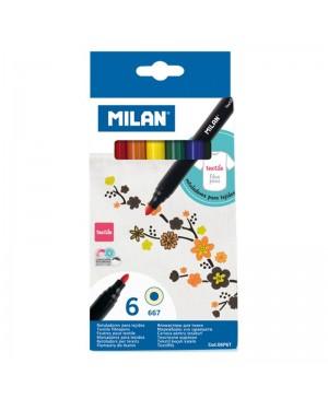 Flomasteriai piešti ant audinio Milan 6 spalvų