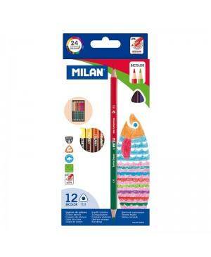Dvigaliai spalvoti pieštukai Milan Bicolor 12 vnt 24 spalvos