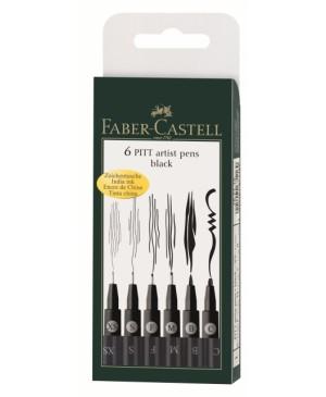 Rašikliai Faber-Castell PITT, juoda spalva, 6 vnt. XS, S, F, M, B, C