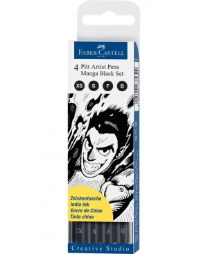 Rašikliai Faber-Castell PITT Manga 199, 4 vnt. juodos spalvos