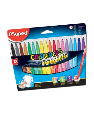 Flomasteriai Maped Color Peps Long Life 18 spalvų