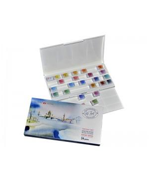 Akvarelinių dažų rinkinys Belye noči - Fantasy, plastikinėje dėžutėje, 24 spalvų