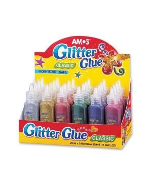 Klijai su blizgučiais dekoravimui Amos Glitter Glue, 22 ml. įvairių sp. pasirinktinai