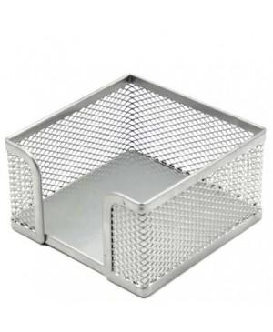 Dėžutė užrašų lapeliams 11x11cm, sidabro spalvos perforuoto metalo