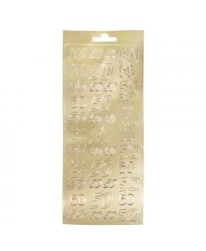 """Lipdukai kontūriniai """"50"""", 10x24,5cm, aukso sp."""