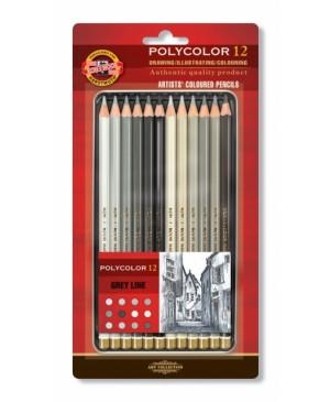 Akvarelinių pieštukų rinkinys, pilki tonai, 12vnt