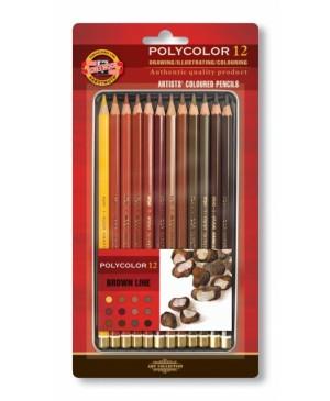 Akvarelinių pieštukų rinkinys, rudi tonai, 12vnt
