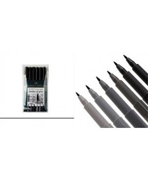 Teptukiniai rašikliai Faber-Castell PITT Shades of Grey, 6 vnt. pilkų atspalvių