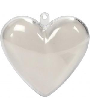 Skaidraus plastiko širdis iš 2 dalių, 6.5cm