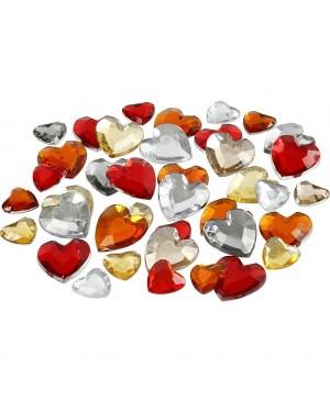 Kristalai blizgios širdelės, 6-9-12mm, 252vnt, geltoni-ornažiniai-raudoni tonai