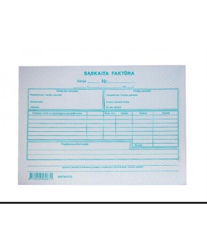 Sąskaita-faktūra be numeracijos A5, 50 kompl. po 2 lapus (savekopijuojanti)