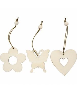 Ornamentas medinis - gėlytė / širdutė, 1 vnt.