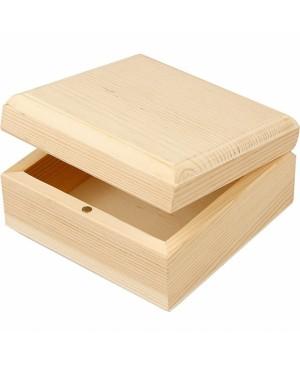 Dėžutė medinė 9x9x5cm, su dangteliu