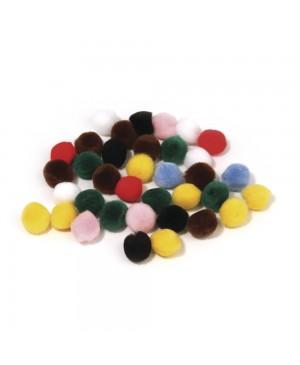 Pūkuočiai pompon, 15mm, 60vnt, įv.spalvų