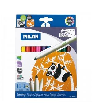 Ištrinami flomasteriai Milan Erasable 11 spalvų +1 tryniklis