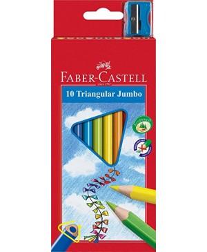 Spalvoti pieštukai 10 sp. Faber Castell Jumbo, tribriauniai su drožtuku