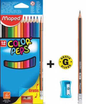 Spalvoti pieštukai Maped Color Peps 12 spalvų + grafitinis pieštukas ir drožtukas