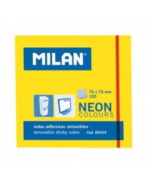 Lipnūs lapeliai užrašams Milan Neon, 76x76mm, 100l. geltonos sp.