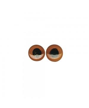 Stiklinės akys, prisiuvamos, rudos, diametras 6mm, 10vnt