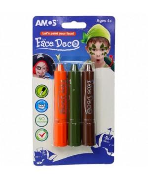 """Dekoratyviniai dažai veidui Amos """"Gamta"""" 3 spalvų"""