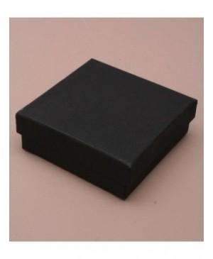 Kartoninė dviejų dalių dėžutė žemu dangteliu, 9x9x3 cm juoda