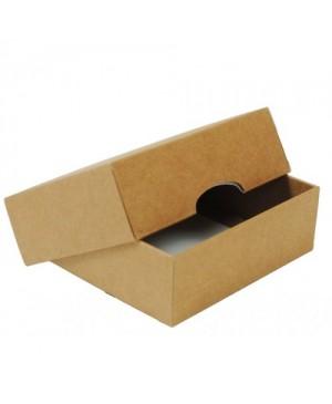 Kartoninė dviejų dalių dėžutė pakavimui, 15x11x4.5 cm ruda/balta