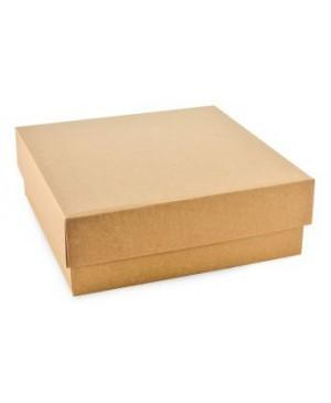 Kartoninė dviejų dalių dėžutė žemu dangteliu, 15x15x5.5 cm ruda/balta