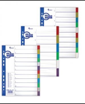 Skiriamieji lapai Forpus, 1-6, A4, plastikiniai, spalvoti