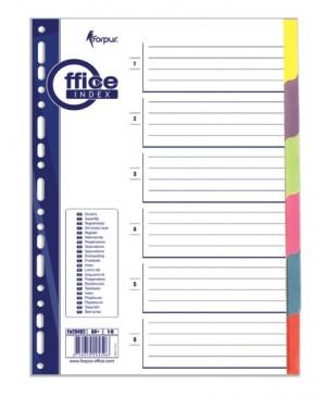 Skiriamieji lapai Forpus, 1-6, A4, kartoniniai, spalvoti