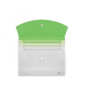 Aplankas - vokas dokumentams 3 skyrių, A4, žalias/baltas plastikinis, su spaude