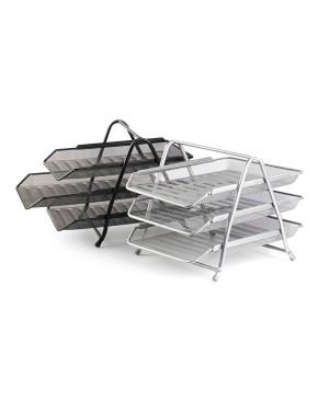 Horizontalus dėklas-stovas dokumentacijai A4, sidabro spalvos perforuoto metalo, trijų skyrių