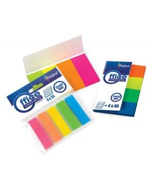 Indeksai popieriniai Forpus 20x50mm, 4 neoninių spalvų po 40vnt