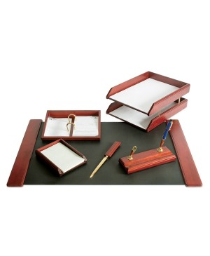 Darbo stalo priemonių rinkinys Forpus, rudos medienos, 6 dalys