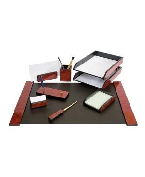 Darbo stalo priemonių rinkinys Forpus, medinis, raudonmedžio sp.,8 dalys