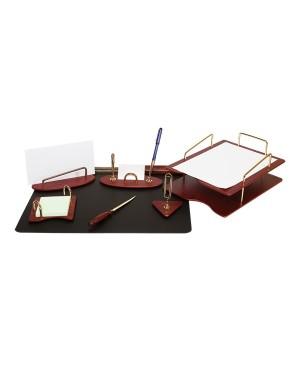 Darbo stalo priemonių rinkinys Forpus, medinis, raudono vyno sp., 7 dalys