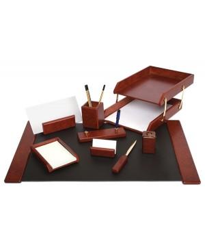 Darbo stalo priemonių rinkinys Forpus,medinis, raudono vyno sp.,9 dalių