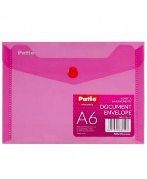 Plastikinis skaidrus vokas su spaustuku Patio, A6 rožinis