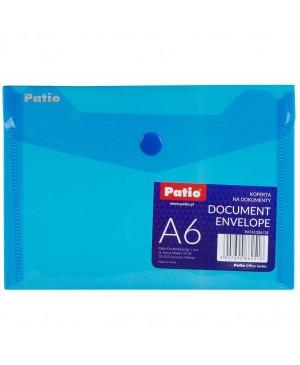 Plastikinis skaidrus vokas su spaustuku Patio, A6 mėlynas