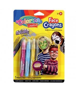 Kreidelės veidui dažyti Face Crayons 5 metalizuotų spalvų
