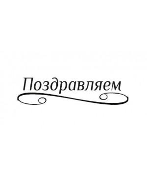 Silikono antspaudas rusų kalba -  Pozdravliajem, 41x10mm
