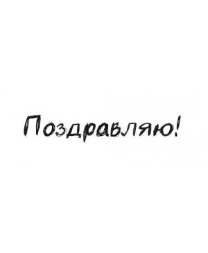 Silikono antspaudas rusų kalba - Pozdravliaju-3, 43x7mm