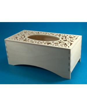 Dėžutė servetėlėms ažūriniu viršumi, 25,1 x 12,6 x 10,5 cm.