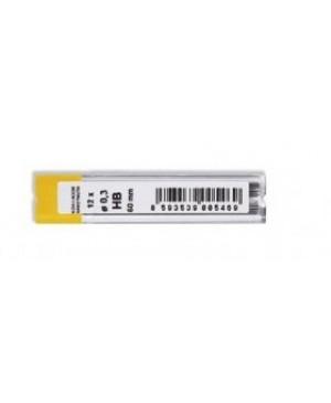 Grafito šerdelės Koh I Noor automatiniam pieštukui, HB, diam. 0.3 mm, ilgis 60mm, 12 vnt. dėžutėje