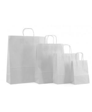 Popierinis maišelis Toptwist suktomis popierinėmis rankenėlėmis 14x8x22 cm. 80 g/m², baltas