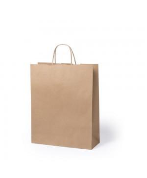 Popierinis maišelis Toptwist suktomis popierinėmis rankenėlėmis 32x12x41 cm. 100 g/m², rudas