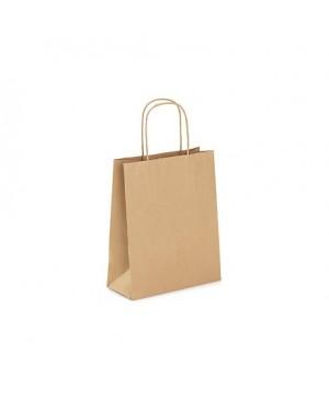 Popierinis maišelis Toptwist suktomis popierinėmis rankenėlėmis 14x8x22 cm. 80 g/m², rudas
