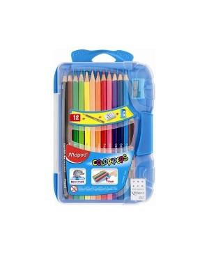 Spalvoti pieštukai Maped Color Peps 12 spalvų plastikinėje dėžutėje