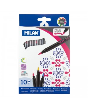 Flomasteriai teptukiniais galiukais Milan Brush 10 spalvų