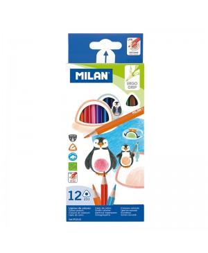 Spalvoti tribriauniai pieštukai Milan 12 spalvų